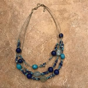 Light blue and navy beaded wire necklace